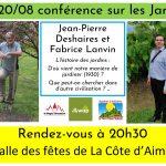 Vendredi 20 Août Conférence sur les jardins et le jardinage